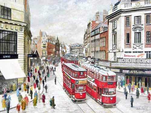 Pete Lapish - New Briggate - Leeds - West Yorkshire - England - A No 3  Chamberlain Tram is going towards Roundhay and passes an Ex London Feltham Tram - 1955