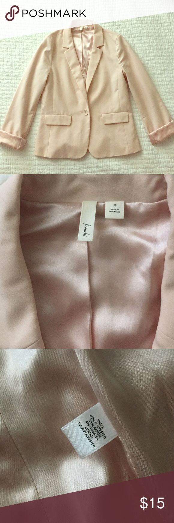 Light pink blazer Super cute light pink blazers, goes from work to going out . The inside is a soft satin throughout and there is some pilling on the inner part of the rolled up sleeve ( if you roll it down you can't see it however it's not super noticeable since its on the inner part of the sleeve) Frenchi Jackets & Coats Blazers
