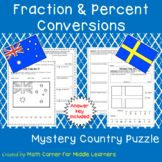 """Students practice fraction, decimal and percent conversions to discover what country's flag is displayed and then color it! Mix a little Social Studies into your Math Curriculum with """"Mystery Country Puzzles""""."""