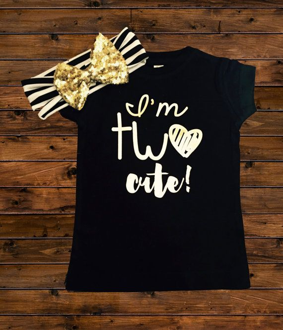 I'm TWO Cute Shirt – Two Cute – 2nd Birthday Shirt – SHIRT Only – Trendy Birthday – Toddler Girl Birthday Shirt – 2 year old – Two