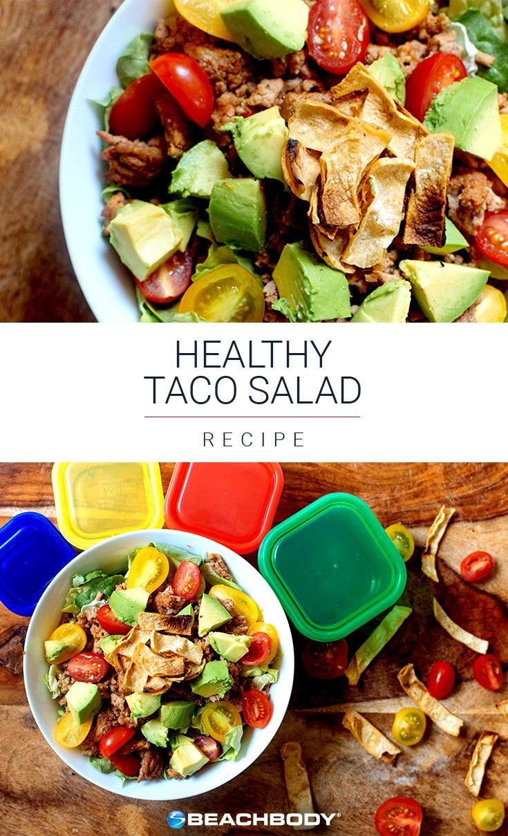 We created this super-healthy taco salad recipe so you can enjoy all your favorite flavors while still staying on track with your diet. Made with fresh veggies, ground turkey, and crunchy tortilla chips, it's perfect for a light, protein-packed lunch or dinner. // Beachbody // BeachbodyBlog.com