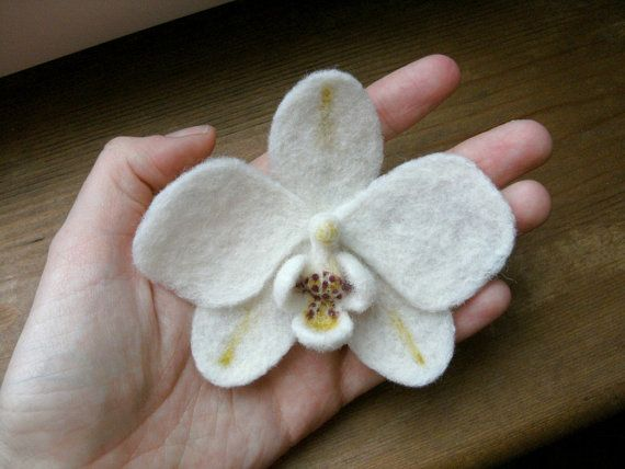 white needle felted orchid brooch