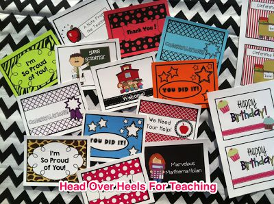 Teacher postcards from Joanne - Head Over Heels For Teaching. Send them home when students do something special!