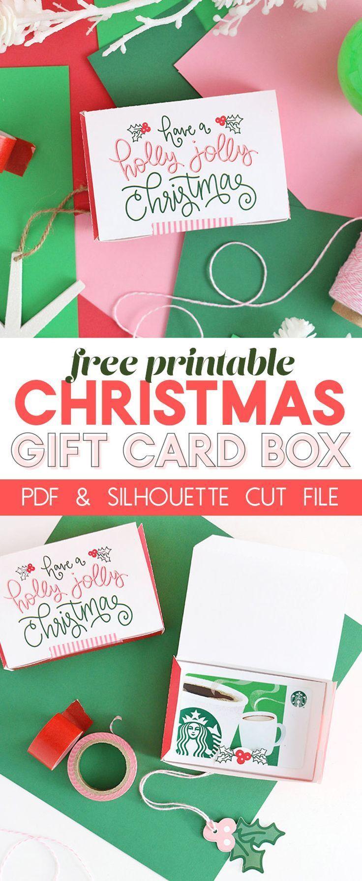 DIY Gift Card Box - Free Printable Gift Idea for Christmas | Free ...