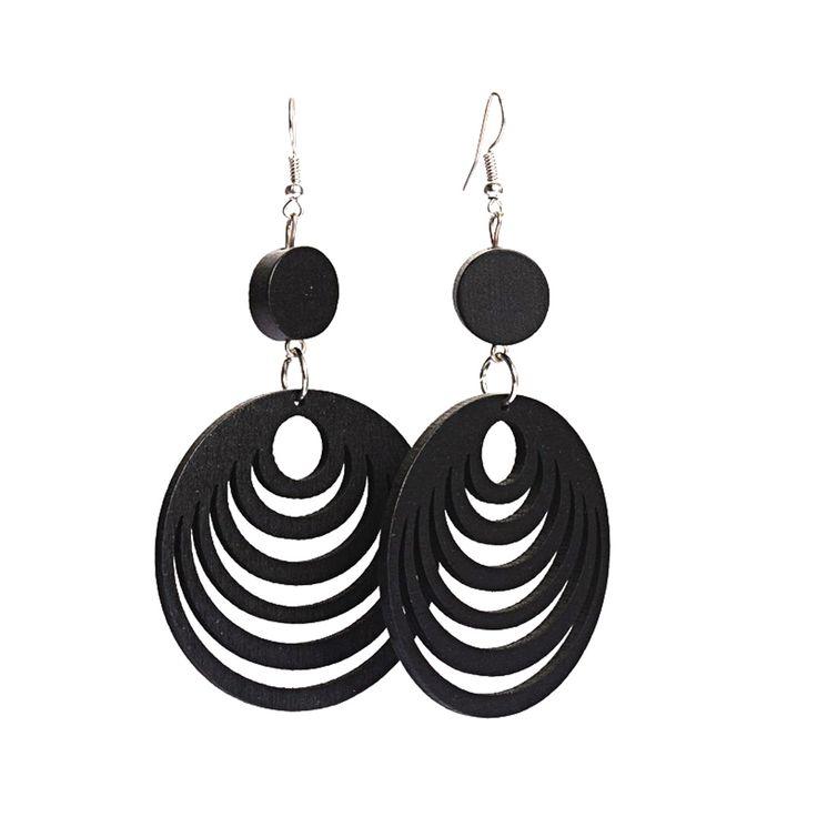 Black cut out design layered hoop wooden drop earrings