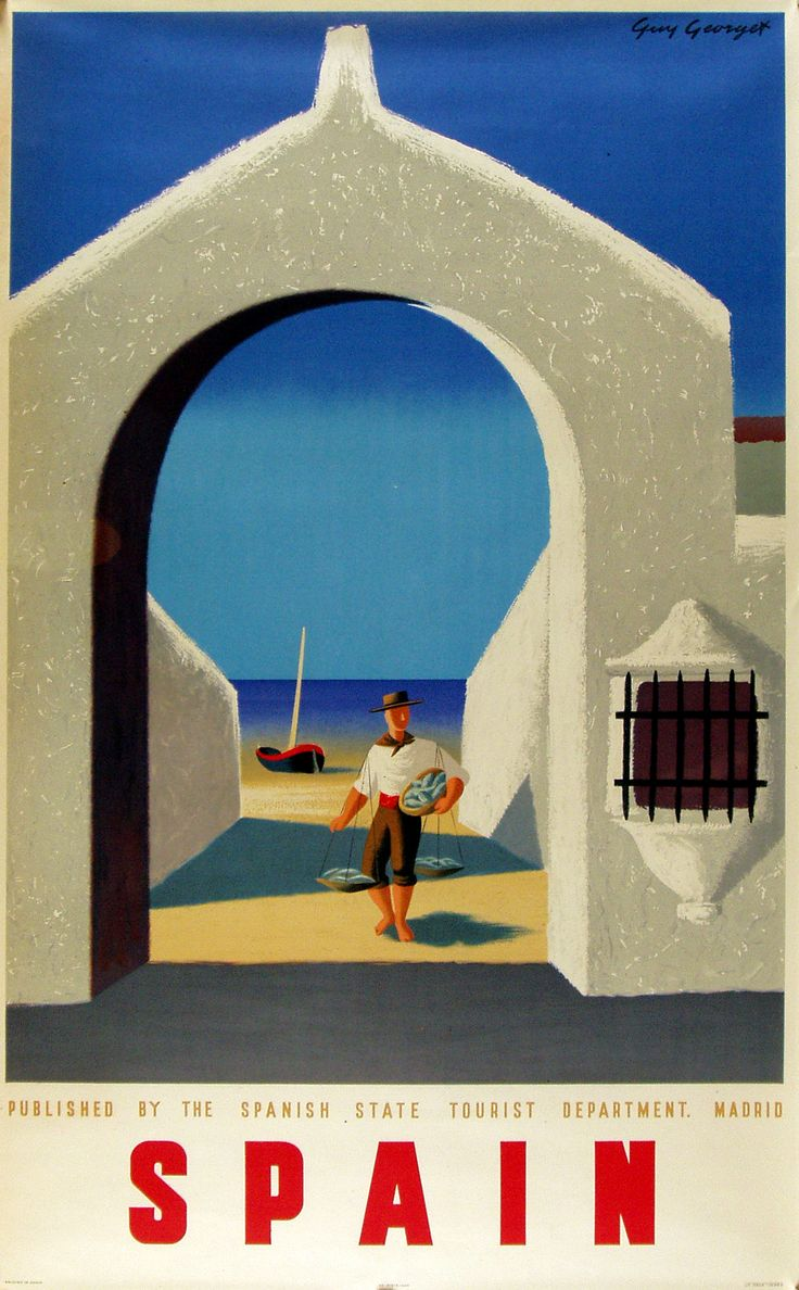 """Original """"Spain (arch)"""" poster by Guy Georget, c,1948Travelposters, Picture-Black Posters, The Artists, Guys Georget, Retro Posters, Front Doors, Vintage Travel Posters, Spain Travel, Spain Posters"""