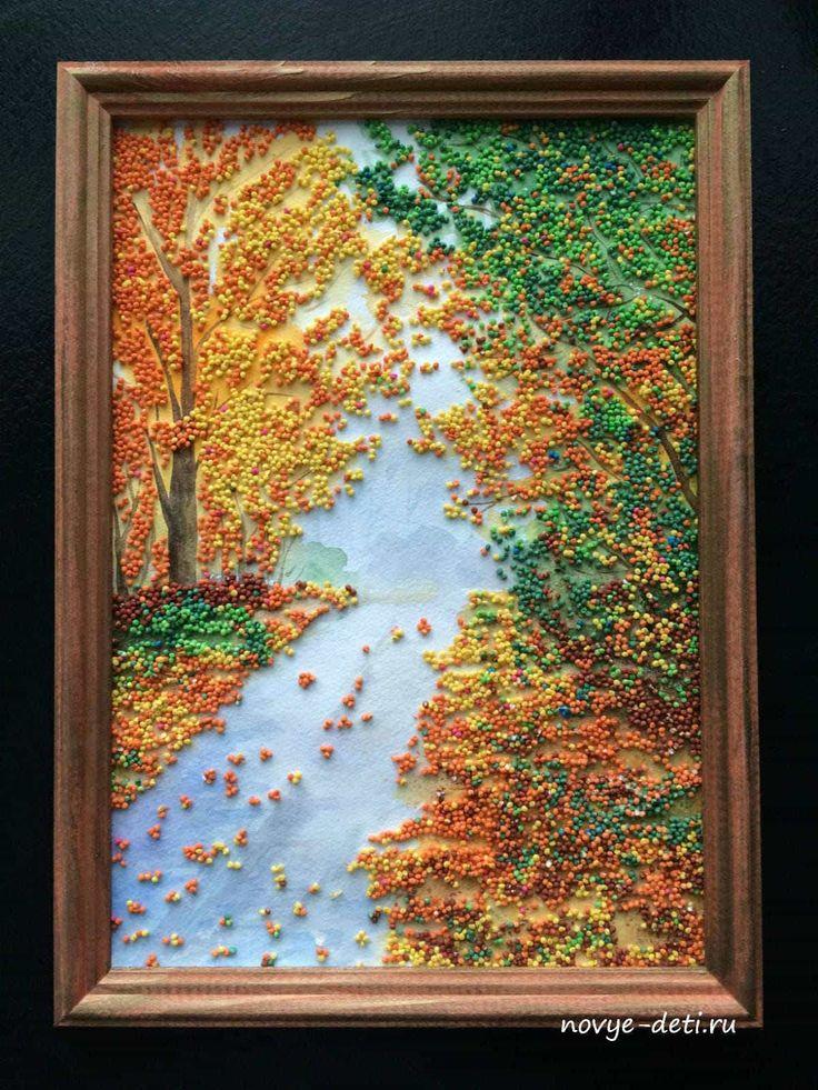 Картина из крупы Осенний пейзаж. Простая в исполнении, но очень эффектная. Можно сделать с детьми от 3 лет.