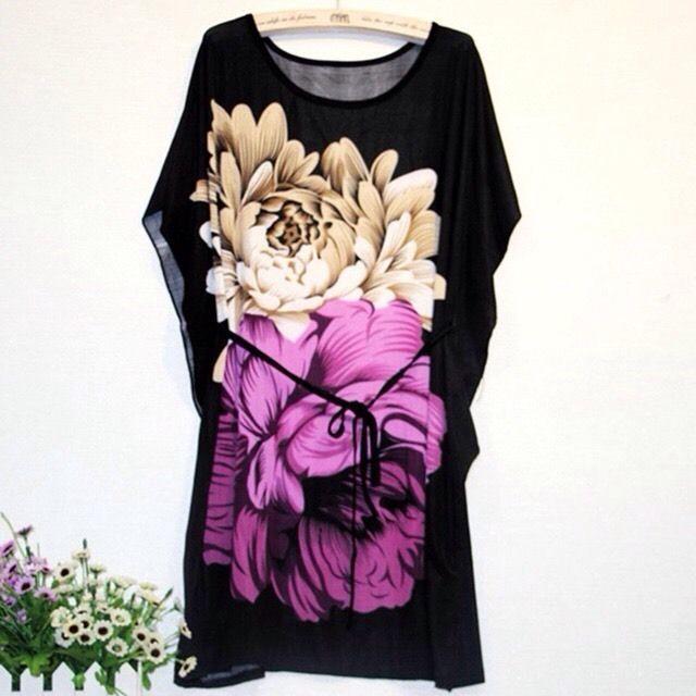 Women Tunic Dress Floral Black Free Size | eBay