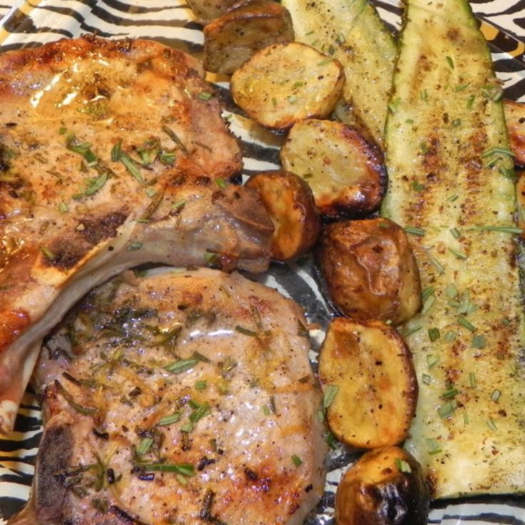 Rosemary Grilled Pork Chops with Potatoes & Zucchini WW value = 7 points