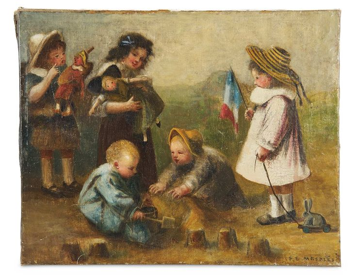 Toys For Painting : French oil painting on canvas quot five children with toys and