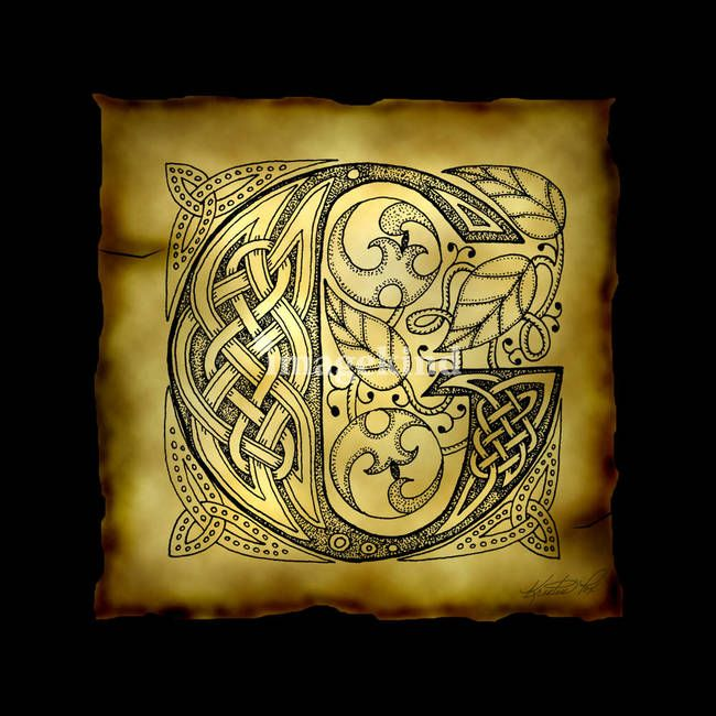 """Celtic Letter G"" by Kristen Fox, New York // An original, hand-drawn letter G from the full alphabet done in Celtic style, with intricate knotwork, spirals, and leaves, on a faux parchment background on a black field. A wonderful monogram print for first name or surname initials. // Imagekind.com -- Buy stunning fine art prints, framed prints and canvas prints directly from independent working artists and photographers."