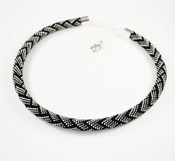 Artichoke gray necklace Black Beaded crochet rope Seed beads