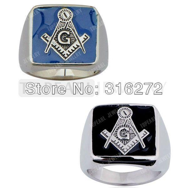 Topearl Jewelry 2pcs/LOT Masonic Stainless Steel Ring Black / Blue Enamel #Affiliate