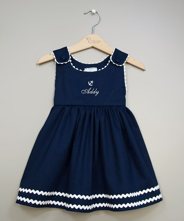 Take a look at this Princess Linens Navy & White Anchor Personalized Jumper - Infant, Toddler & Girls on zulily today!