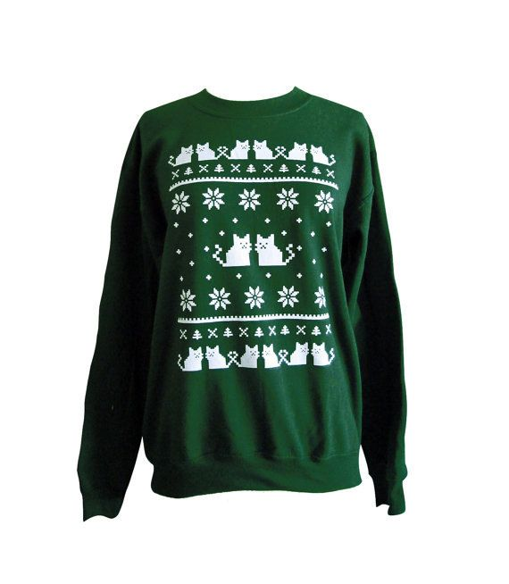 Heres the purrrrfect ugly Christmas sweater for all you cat lovers! This design is printed in white ink on a navy blue UNISEX crewneck sweater.