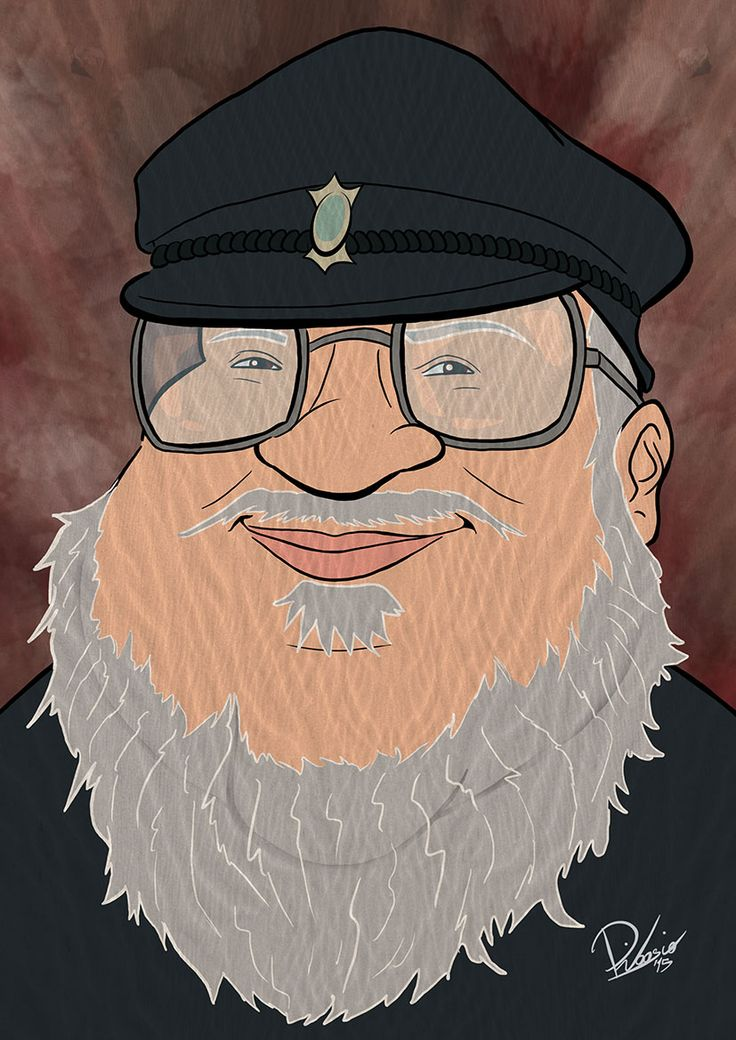 George RR Martin as creator of #gameofthrones - caricature by Ribosio