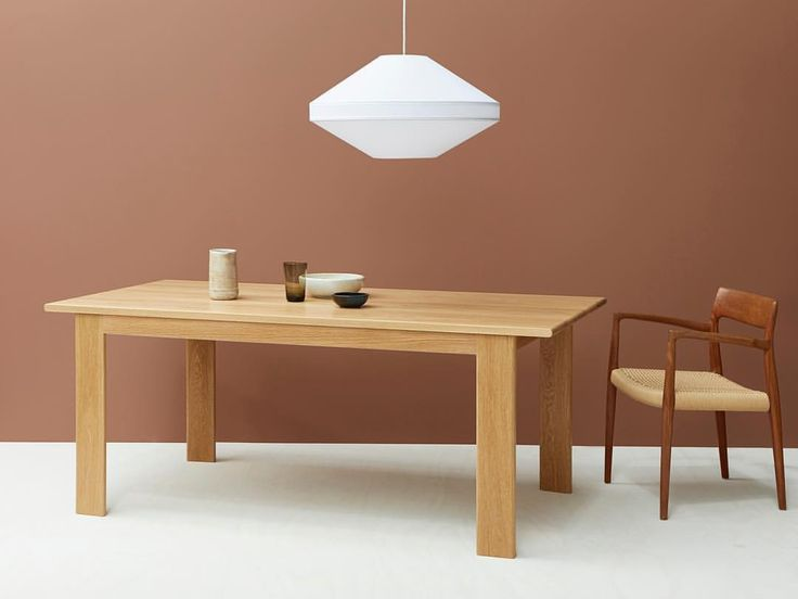 Our Mayu 02 Pendant sitting above the 'First Oak Dining Table' by Nick Pearce Furniture. Styling: Rebecca Vitartas