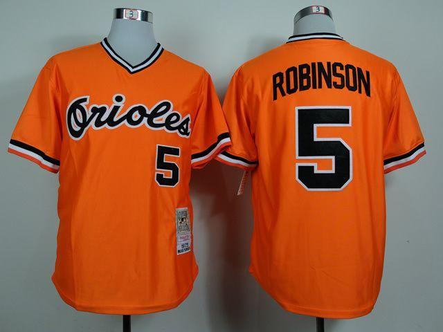 MLB Baltimore Orioles 5 Brooks Robinson Orange 1975 Jerseys,Cheap ...