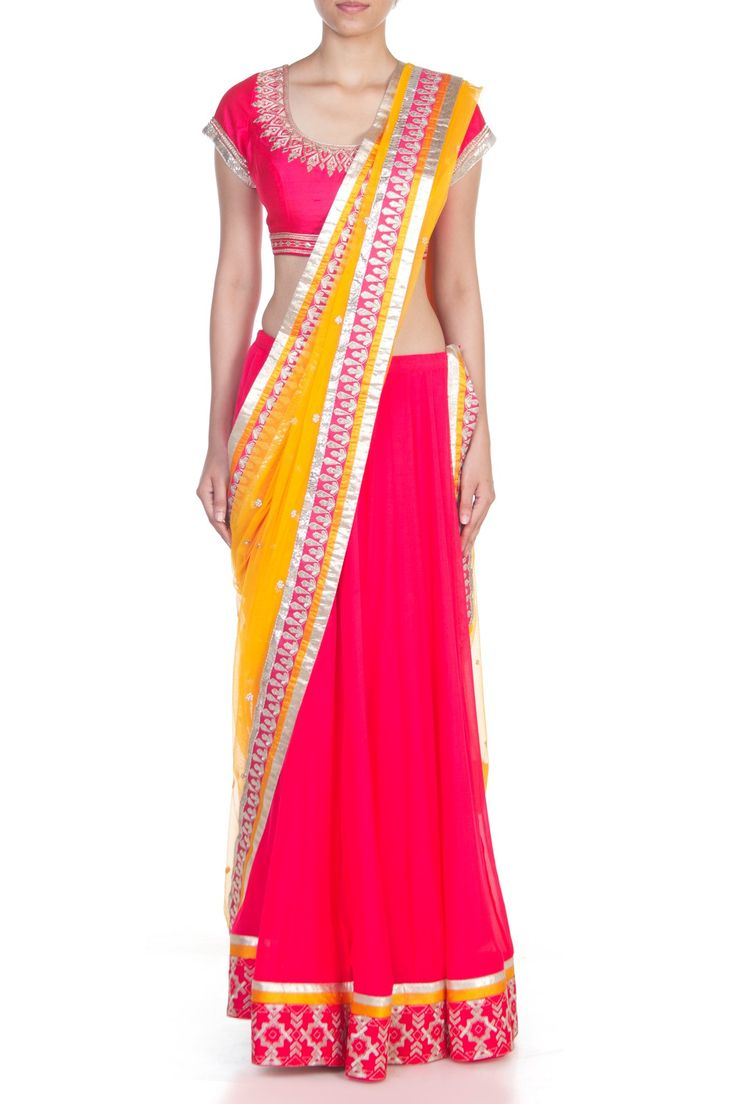 <p>This beautiful rose pink chiffon lehenga set is an absolute must have. Beautified with gotta patti embroidery on a stunning pink raw silk choli. Along with the lehenga comes an elegant yellow net dupatta.</p><p><strong>Disclaimer</strong> - We require 3-6 weeks for the dispatch, as the product is customised.</p>
