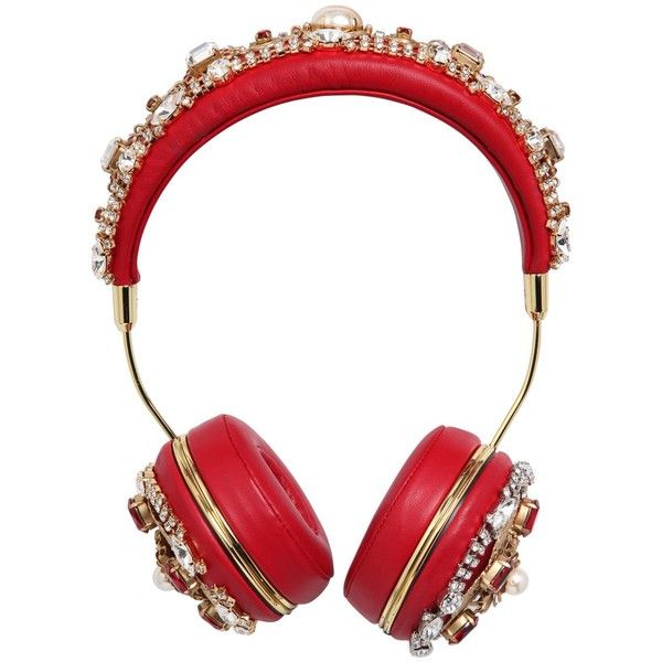 Dolce & Gabbana Women Frends Embellished Headphones ($5,355) ❤ liked on Polyvore featuring accessories, tech accessories, headphones, electronics, hats and technology