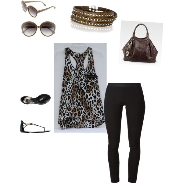 plus size animal print tank top, black jeggings, and accessories by im-karla-with-a-k on Polyvore featuring polyvore fashion style Helmut Lang Sif Jakobs Jewellery Elizabeth and James