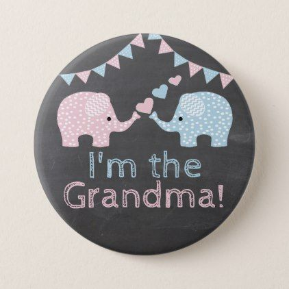 Twin Boy and Girl Elephants |  I'm The Grandma Pinback Button - baby shower ideas party babies newborn gifts