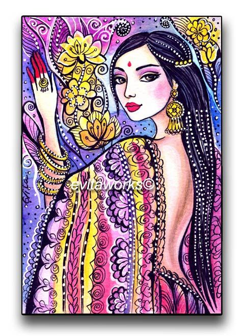 India Girl Illustration Fashion  A Soul of India  by evitaworks, $17.00