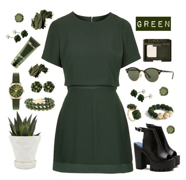 """""""Green #1"""" by marthaamayacastillo-stu ❤ liked on Polyvore featuring Topshop, Ray-Ban, Chive, Ann Taylor, Les Néréides, Henry London, Bobbi Brown Cosmetics, NARS Cosmetics and Origins"""