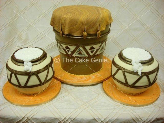 African drum cake by artist/owner Deon Swart of The Cake Genie in Mondeor, Johannesburg, Gauteng, South Africa....