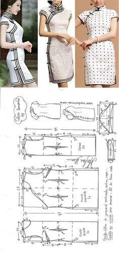 Vestido Tubinho Qipao   DIY – molde, corte e costura – Marlene Mukai