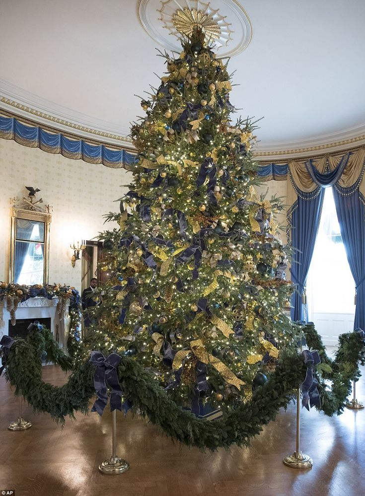 The Christmas tree in the Blue Room touches the ceiling, as the 18 foot, 6 inch Wisconsin-grown pine is adorned with ornaments representing all the states and territories, along with blue and gold bows