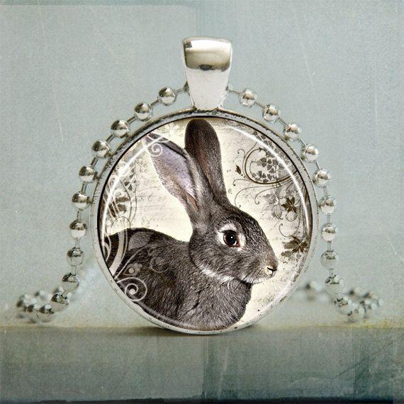 Rabbit Art Pendant, Rabbit Pendant, Woodland Animal, Rabbit Jewelry (889). $10.95, via Etsy.