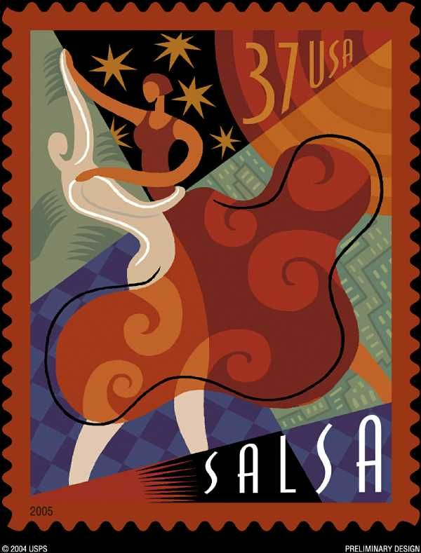 United States Postal Service Stamps ~ Latin Dances, Salsa, Merengue, Cha-Cha-Cha, & Mambo ~ www.justsalsa.com  I want a wall hanging of these!