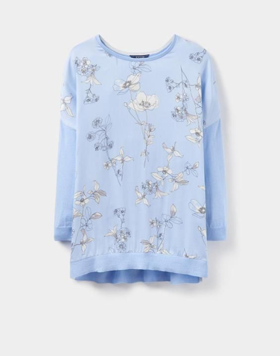 Kitty Light Blue Woven Front Jumper  | Joules UK