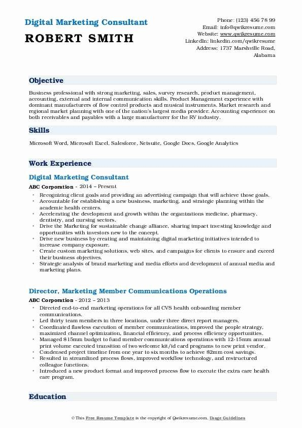 Digital Marketing Resume Sample Fresh Marketing Consultant Resume Samples Marketing Resume Digital Marketing Resume Writing Services