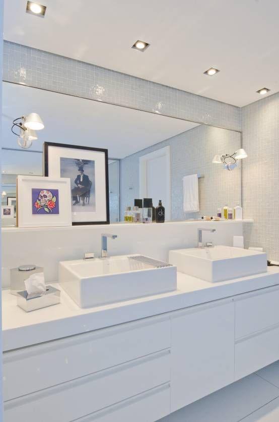 banheiros com pia dupla  Pesquisa Google  Banheiros  Pinterest  Pesquisa -> Pia Banheiro Apartamento