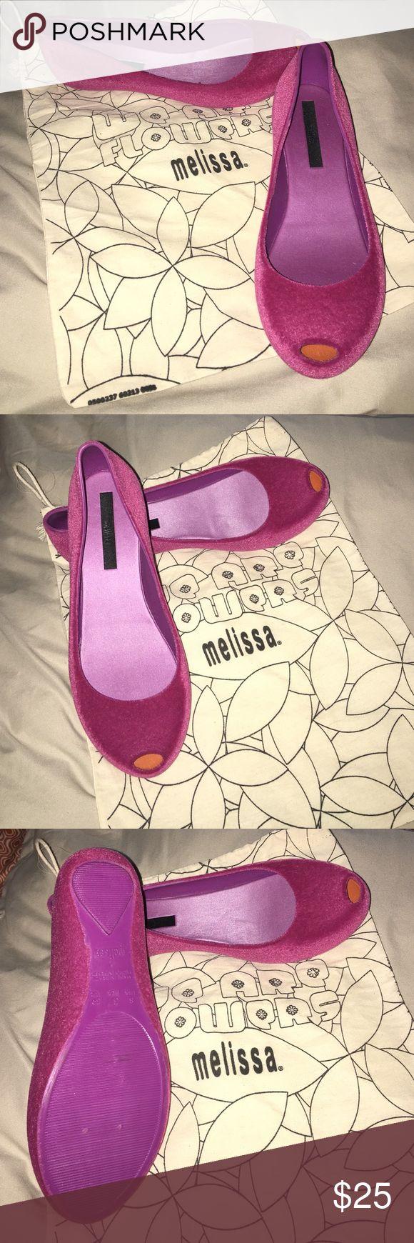 MELISSA peep toe pink velvet flats New !!! flats , beautiful!!!!sale Melissa Shoes Flats & Loafers