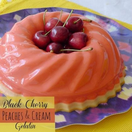 Layered Black Cherry and Peaches & Cream Gelatin