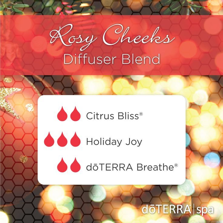 Rosy Cheeks Diffuser Blend: Citrus Bliss, Holiday Joy, Breathe. Breathe in the joy of the holidays and make the most of every blissful moment! #doterra #citrus #bliss #holiday #joy #beathe #essential #oil