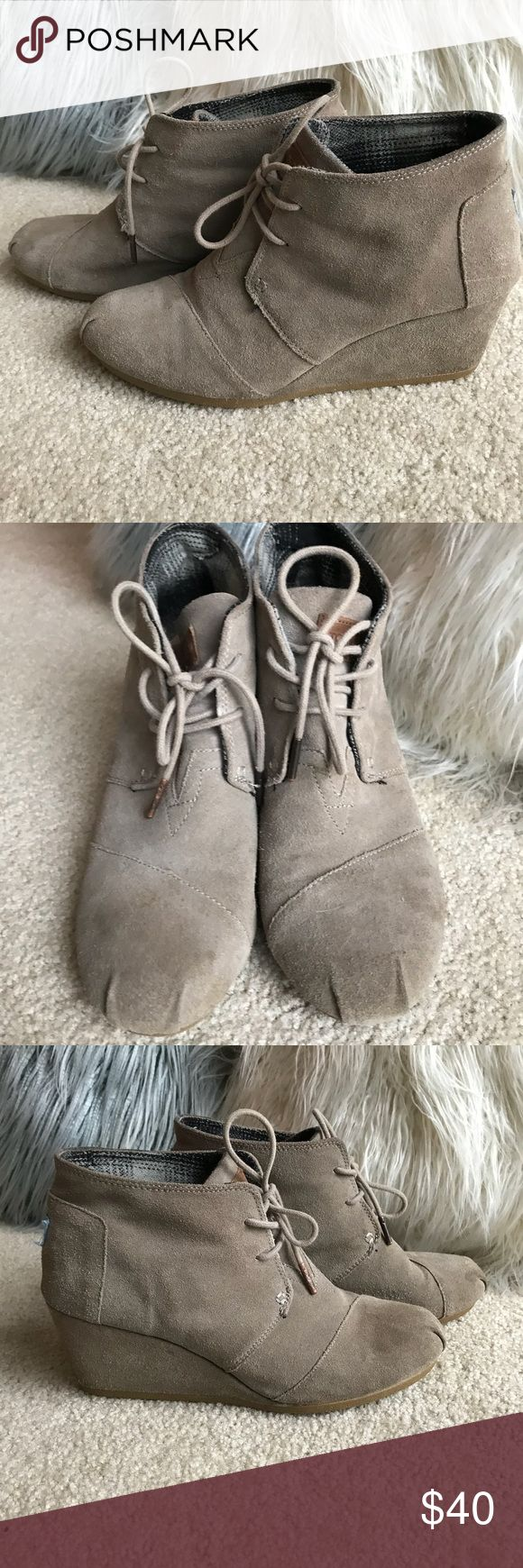 Toms Wedge Booties Classic wedge booties. Great taupe color...goes with everything. Feel free to ask questions. Toms Shoes Ankle Boots & Booties