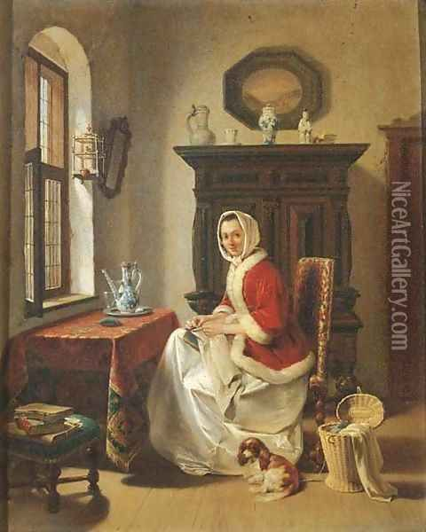A young lady doing needlework in an interior Oil Painting, Willem Pieter Hoevenaar Oil Paintings - NiceArtGallery.com