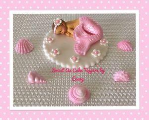 Sweet Mermaid Baby Cake Topper Baby Shower Fondant Cake Decorating | eBay