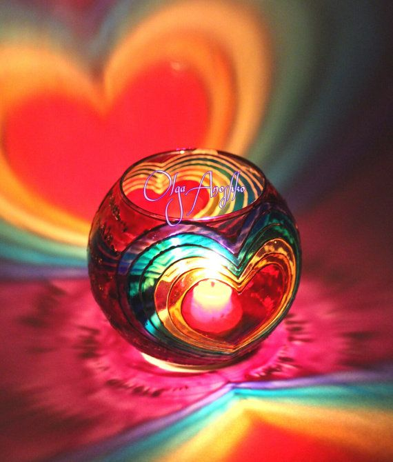 Vase candle holder Rainbow love. Painting on от RomanticArtGlass
