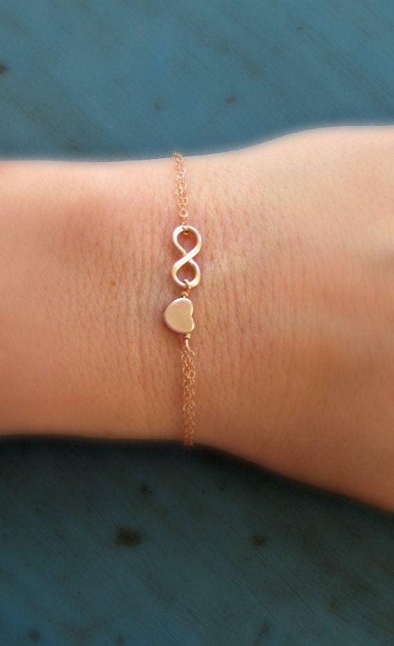 Unendlich Herzen Armband Rose Gold Infinity von vintagestampjewels