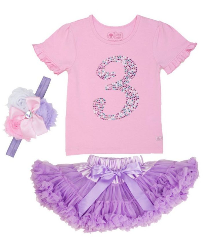 What a cute pink embellished t-shirt, lavender ruffled tutu and matching headband!  Perfectly beautiful birthday outfit for any little girl!