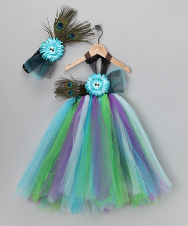 Tutu dress and headband with peacock feathers. Adorable