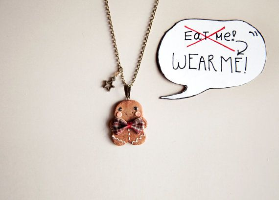 Gingerbread Man Cookie Necklace / christmas gift / xmas by Ilianne