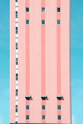 Marcus Cederberg - Uprising, pink building against a blue sky, architecture, photography