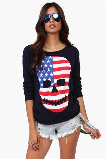 American Skull Sweater in Navy