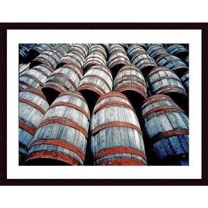 Amazon Old Wine Barrels Wood Framed Art Print Matte Color Black